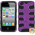 BasAcc Purple Diamante/ Black Fishbone Case for Apple iPhone 4S/ 4