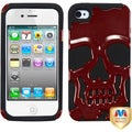 BasAcc Solid Red/ Black Skullcap Hybrid Case for Apple iPhone 4S/ 4