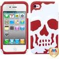 BasAcc Ivory White/ Red Skullcap Hybrid Case for Apple iPhone 4S/ 4