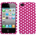BasAcc Dots/ Pink/ White Phone Case for Apple iPhone 4S/ 4