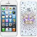 BasAcc Purple Crown Crystal 3D Diamante Back Case For Apple iPhone 5