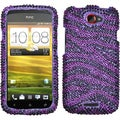 BasAcc Purple/ Black Zebra Skin Diamante Case for HTC One S