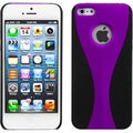 BasAcc Purple/ Black Wave Rubberized Case for Apple iPhone 5