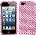 BasAcc Stripe White/ Pink Diamante Protector Case for Apple iPhone 5