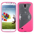 BasAcc Clear/ Hot Pink Gummy Case with Stand for Samsung� Galaxy S4