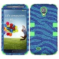 BasAcc Zebra Skin Diamante/ Green TUFF Case for Samsung Galaxy S4
