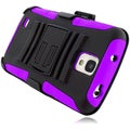 BasAcc Black/ Purple Holster Case with Stand for Galaxy S4 Active i537