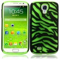 BasAcc Black/ Neon Green Zebra Silicone Case for Samsung Galaxy S4