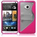 BasAcc Clear/ Hot Pink S Shape TPU Case with Stand for HTC One M7