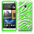 BasAcc White/ Neon Green Zebra Silicone Case for HTC One M7
