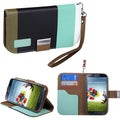 BasAcc Baby blue/ Black/ Grey Wallet Case for Samsung� Galaxy S 4 R970