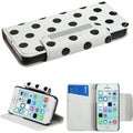 BasAcc Black Dots/ White MyJacket Wallet Case for Apple iPhone 5C