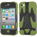 BasAcc Black/ Green Cyborg Hybrid Case for Apple iPhone 4S/ 4