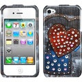 BasAcc Black Jean Hearts Case with Studs for Apple iPhone 4/ 4S