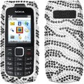 INSTEN Black/ Zebra Skin/ Diamante Phone Case Cover for Nokia 1616