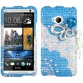 BasAcc Blue Butterfly Chain/ 3D Diamante Case for HTC One/ M7