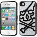 BasAcc Clear/ Black Skullcap Gummy Case for Apple iPhone 4S/ 4