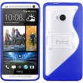 BasAcc Clear/ Dark Blue S Shape Gummy Stand Case for HTC One/ M7