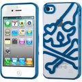 BasAcc Clear/ Dark Blue Skullcap Gummy Case for Apple iPhone 4S/ 4