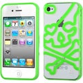 BasAcc Clear/ Green Skullcap Gummy Case for Apple iPhone 4S/ 4