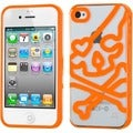 BasAcc Clear/ Orange Skullcap Gummy Case for Apple iPhone 4S/ 4