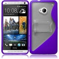 BasAcc Clear/ Purple S Shape TPU Case with Stand for HTC One M7
