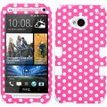 BasAcc Dots(Pink/ white)/ White TUFF Case for HTC One/ M7