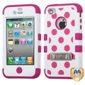 BasAcc Pink Polka Dots/ White/ Pink TUFF Case for Apple iPhone 4/ 4S