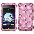BasAcc Plaid Hot Pink/ Purple Diamante Case for ZTE X500 Score