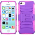 INSTEN Purple/ Electric Pink Phone Case Cover with Stand for Apple iPhone 5C