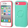 BasAcc Teal Green/ Hot Pink Ring Stand Case for Apple iPhone 4S/ 4
