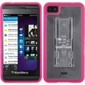 BasAcc Transparent Clear/ Solid Hot Pink Gummy Case for Blackberry Z10