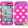 BasAcc White Polka Dots/ Electric Purple TUFF for Apple iPod 4