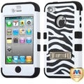 BasAcc Zebra Skin/ Black TUFF Hybrid Case for Apple iPhone 4/ 4S