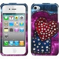 BasAcc Rainbow Jean Hearts Case with Studs for Apple iPhone 4/ 4S