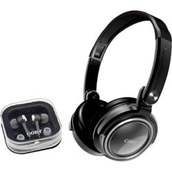 Coby Silver 2-in-1 Combo Deep Bass Headphones and Earphones