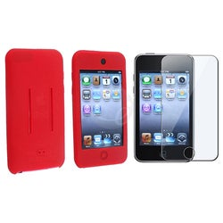 Eforcity Red Silicone Case and Screen Film for iPod Touch Gen 2/3