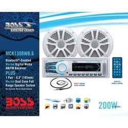Boss Audio MCK1308WB.6 Marine Package Includes MR1308UAB Single-DIN A