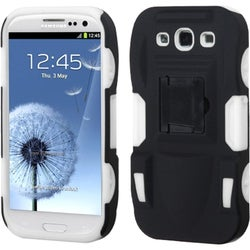 BasAcc Rubber Black/ White Armor Stand Case for Samsung Galaxy S3