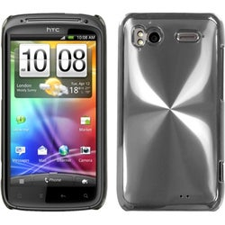 INSTEN Silver Brushed Metal Cosmo Back Phone Case Cover for HTC Sensation 4G