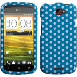 INSTEN Dots/ Blue/ White Phone Case Cover for HTC One S