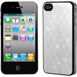 BasAcc Silver Studded Back Plate Case for Apple iPhone 4S/ 4