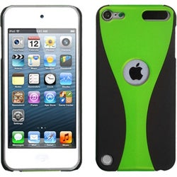 Insten Green/ Black Wave Hard Snap-on Rubberized Matte Case Cover For Apple iPod Touch 5th/ 6th Gen