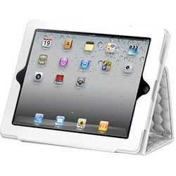 INSTEN Quilted White/ Hexagon Tablet Case Cover for Apple iPad 1/ 2/ 4