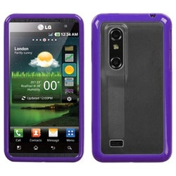 BasAcc Transparent Clear/Solid Purple Case for LG P925 Thrill 4G