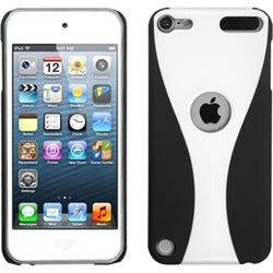 Insten White/ Black Cup Shape Hard Snap-on Rubberized Matte Case Cover For Apple iPod Touch 5th/ 6th Gen