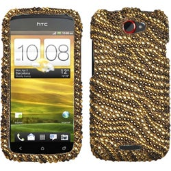 BasAcc Tiger Skin Camel/ Brown Diamante Case for HTC One S