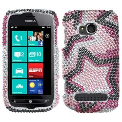 INSTEN Twin Stars Diamante Phone Case Cover for Nokia 710 Lumia