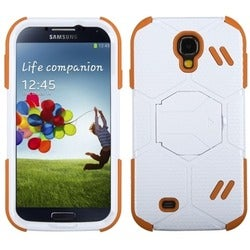 INSTEN Natural White/ Orange Beehive Phone Case Cover for Samsung Galaxy S4
