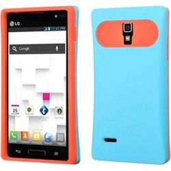 BasAcc Baby Blue/ Orange Wallet Case for LG P769 Optimus L9